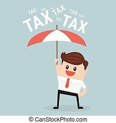 ομπρέλα , tax., επιχειρηματίας , προασπίζω , χρησιμοποιώνταs , αυτόν