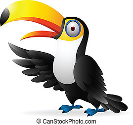 οπωροφάγο πτηνό με μέγα ράμφο , πουλί , ανεμίζω