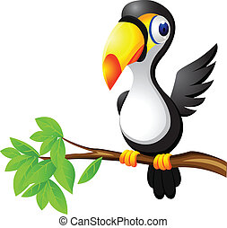 οπωροφάγο πτηνό με μέγα ράμφο , πουλί , γελοιογραφία