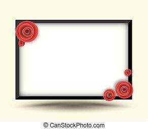 ορθογώνιο , κορνίζα , με , τριαντάφυλλο , για , φωτογραφία...