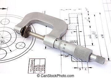 οριζόντιος , μικρόμετρο , τεχνικός , drawing.