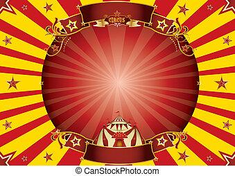 οριζόντιος , τσίρκο , φόντο , κίτρινο , κόκκινο