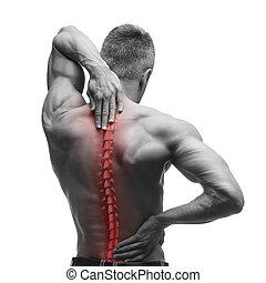 οσφυαλγία , σπονδυλική στήλη , φωτογραφία , λαιμόs , σπονδυλική στήλη , μαύρο , πονώ , πόνος , αγαθός αριστερός , άντραs