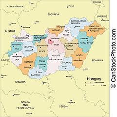 ουγγαρία , περιοχές , διοικητικός , περιβάλλων , άκρη ...