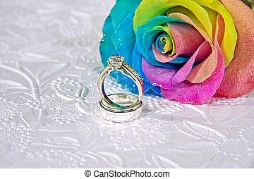ουράνιο τόξο , δακτυλίδι , τριαντάφυλλο