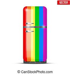 ουράνιο τόξο , κλασικός , ψυγείο , απομονωμένος , μικροβιοφορέας , refrigerator., φόντο , άσπρο