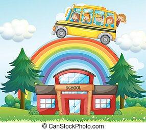 ουράνιο τόξο , σχολικό λεοφωρείο , πάνω , ιππασία , παιδιά