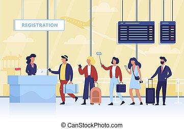 ουρά , αεροδρόμιο. , αποσκευέs , check-in , άνθρωποι