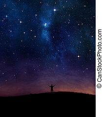 ουρανόs , επαινώ , νύκτα