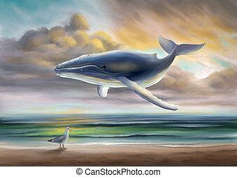 ουρανόs , πλωτός , φάλαινα