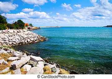 ουρανόs , - , συννεφιασμένος , ακτή , θάλασσα , γαλήνειος , τοπίο