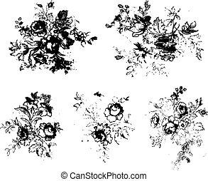 ουσιώδης , grunge , λουλούδι , clipart