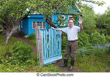 ο , άντραs , σε , ένα , εξοχικό σπίτι , πύλη