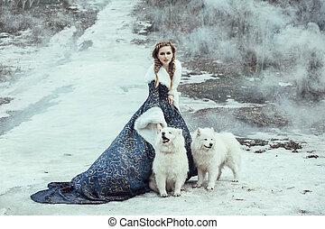 ο , γυναίκα , επάνω , χειμώναs , βόλτα , με , ένα , σκύλοs