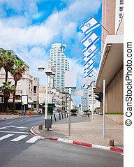 ο , δρόμοs , μέσα , tel aviv , εθνικός , σημαίες , από , ισραήλ