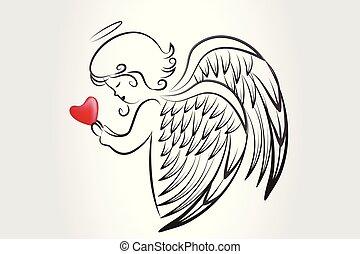 ο ενσαρκώμενος λόγος του θεού , αγάπη , εικόνα , καρδιά , εκλιπαρώ , xριστούγεννα , άγγελος