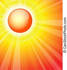 ο , ζεστός , καλοκαίρι , ήλιοs