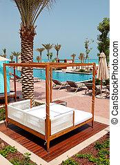 ο , καλύβα , κοντά , πισίνα , σε , πολυτέλεια , ξενοδοχείο , saadiyat, νησί , abu dhabi , uae