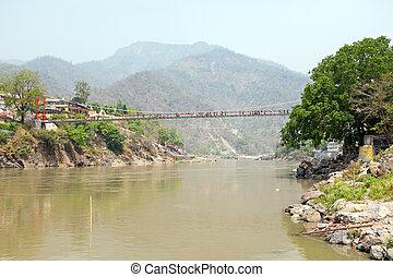 ο , κρεμαστή γέφυρα , σε , laxman, jhula, μέσα , ινδία