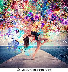 ο , τέχνη , από , χορεύω