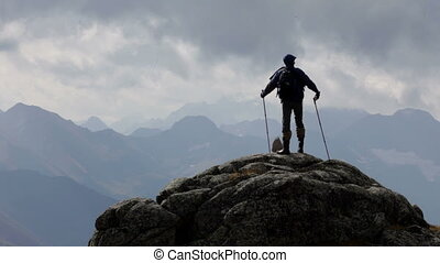 ο , ταξιδιώτης , βουνά , και , θαμπάδα