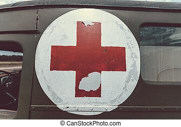 πάνω , ασθενοφόρο , κλείνω , κόκκινο , κρασί , στρατόs , σταυρός