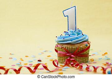 πάνω , εικόνα , αριθμόs , cupcake , 1 , κλείνω , κερί