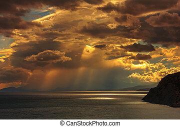 πάνω , ηλιοβασίλεμα , θάλασσα , καταιγίδα