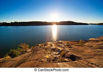 πάνω , ηλιοβασίλεμα , λίμνη