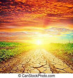 πάνω , ηλιοβασίλεμα , ξηρασία , δρόμοs , κόκκινο