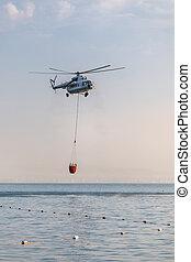 πάνω , καλαθοσφαίριση , κατεβάζω , θάλασσα , water., αρπάζω , ελικόπτερο , κόκκινο