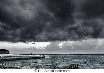 πάνω , καταιγίδα , θάλασσα