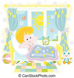 πάνω , μικρό αγόρι , πρωί , ευφυής , αγρυπνία , ηλιόλουστος