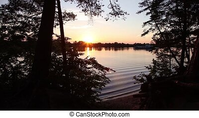 πάνω , ποτάμι , ηλιοβασίλεμα