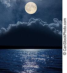πάνω , ποτάμι , θαμπάδα , αντανάκλαση , φεγγάρι