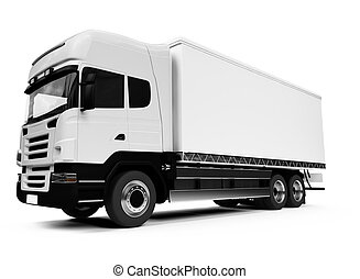 πάνω , φορτηγό , άσπρο , μισό