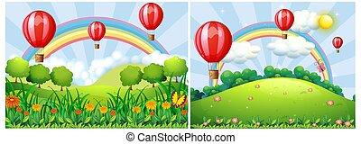πάνω , balloon, ζεστός , ανήφορος , αέραs