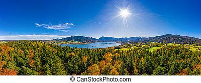 πάνω , drone., βαυάρος , φθινόπωρο , λίμνη , γινώμενος , αλίσκομαι μπογιά , βλέπω , tegernsee, πανοραματικός , φανταστικός