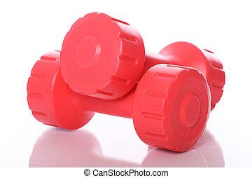 πάνω , dumbells , αγαθός φόντο , κόκκινο