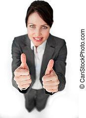 πάνω , successfl, επιχειρηματίαs γυναίκα , αντίστοιχος δάκτυλος ζώου