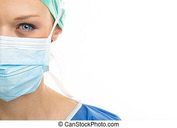 πάνω , surgeon., γυναίκα , κλείνω , όμορφη , blue-eyed