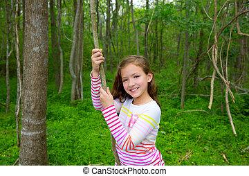 πάρκο , αμπέλι , ζούγκλα , κορίτσι , ευτυχισμένος , παίξιμο , δάσοs
