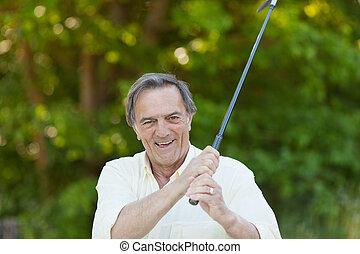 πάρκο , αρχαιότερος , γκολφ , παίξιμο , άντραs
