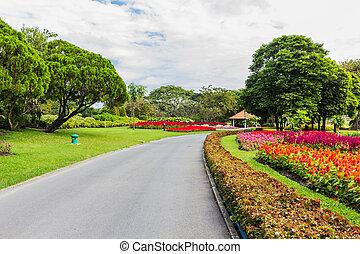 πάρκο , με , δέντρα , και , γρασίδι