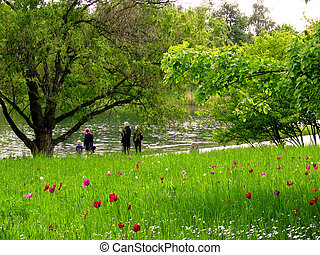πάρκο , οικογένεια , βόλτα