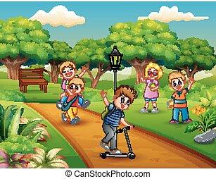 πάρκο , παίξιμο , σύνολο , παιδιά , γελοιογραφία