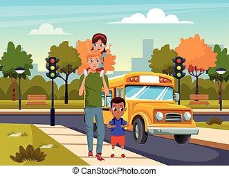 πάρκο , φόντο , δρόμοs , άντραs , γραφικός , περίπατος , σχεδιάζω , λεωφορείο , γελοιογραφία , αγέλη ιχθύων αστειεύομαι , πάνω