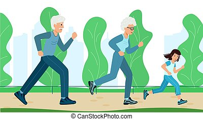 πάρκο , training., παππούς και γιαγιά , παιδί , τρέξιμο , οικογένεια