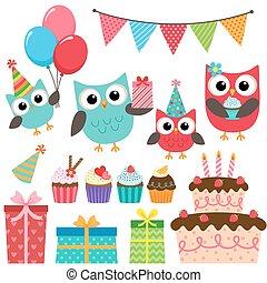 πάρτυ , γενέθλια , στοιχεία , κουκουβάγιες