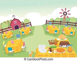πάρτυ γεννεθλίων , αγρόκτημα , εικόνα , δέσιμο